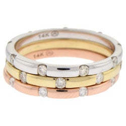 14k Gold 1/4ct TDW Stackable Eternity Dome Diamond Band Ring (H-I, I1)