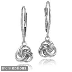 DB Designs Sterling Silver Diamond Accent Love Knot Leverback Earrings