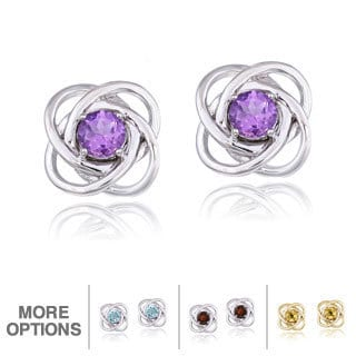 Glitzy Rocks Silver Gemstone Love Knot Stud Earrings