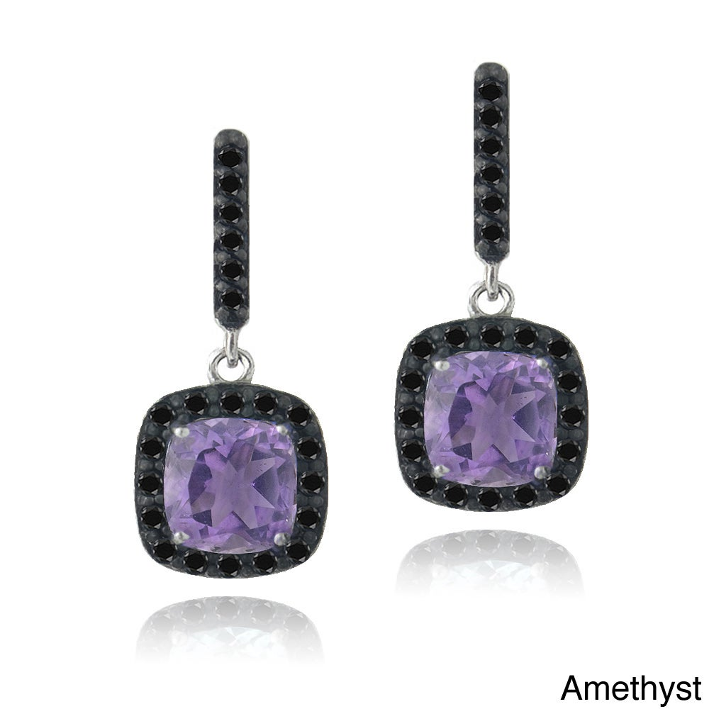 Glitzy Rocks Glitzy Rocks Sterling Silver Gemstone and Black Spinel Earrings