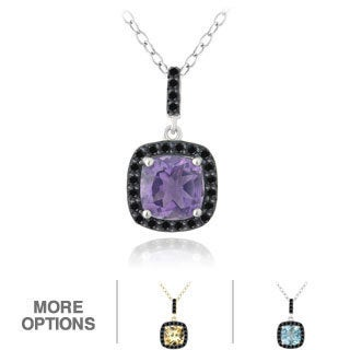 Glitzy Rocks Sterling Silver Gemstone and Black Spinel Necklace