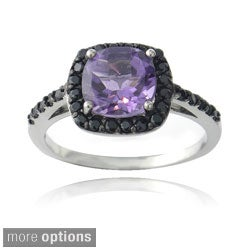 Glitzy Rocks Sterling Silver Gemstone and Black Spinel Ring