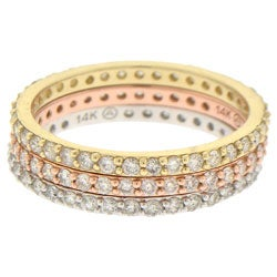 14k Gold 1/2ct TDW 3-Piece Stackable Diamond Ring Set