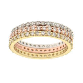 Beverly Hills Charm 14K Gold 1/2ct TDW Stackable Diamond Eternity Band Ring (H-I, SI2-I1)