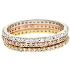 Beverly Hills Charm 14k Gold 1/3ct TDW Pave Stackable Diamond Eternity Band Ring (H-I, SI2-I1)
