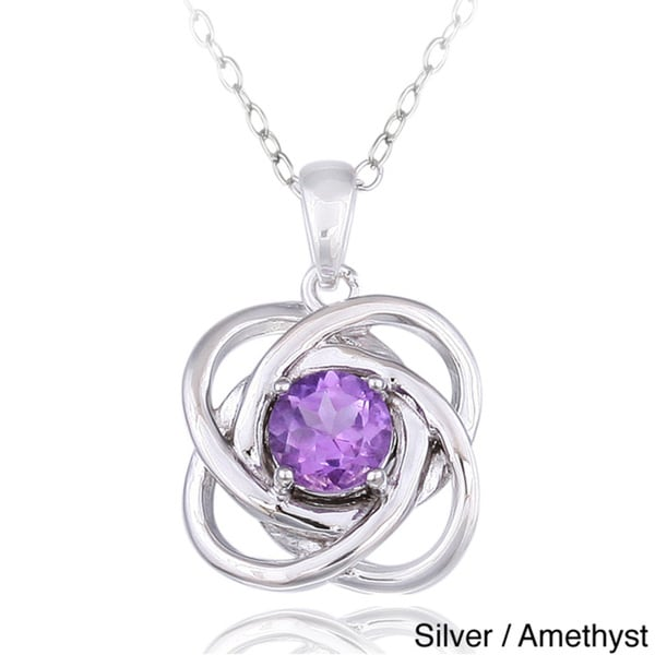 Glitzy Rocks Silver Gemstone Love Knot Necklace