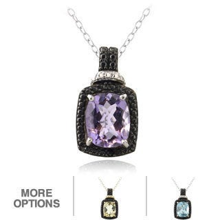 Glitzy Rocks Silver Gemstone and Black Diamond Accent Teardrop Necklace