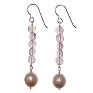 Ashanti Sterling Silver Pink Pearl and Pink Amethyst Gemstone Dangle Handmade Earrings (Sri Lanka)