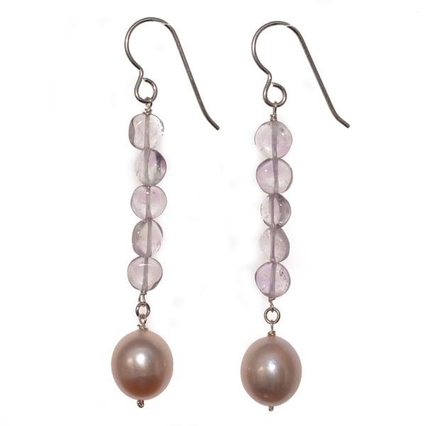 Ashanti Sterling Silver Pink Pearl and Pink Amethyst Gemstone Dangle Handmade Earrings (Sri Lanka)