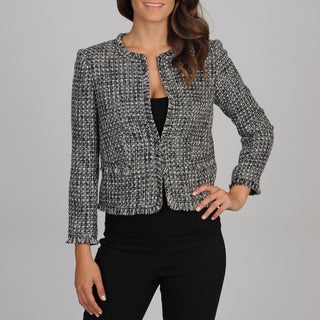 Grace Elements Women's Black and White Boucle Blazer