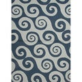 Hand-hooked Indoor/ Outdoor Abstract Pattern Blue Rug (7'6 x 9'6)