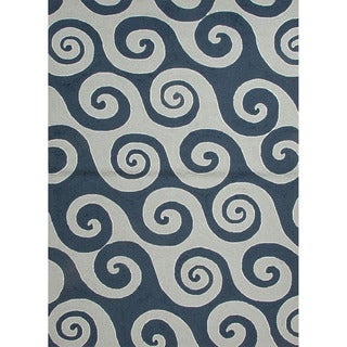 Hand-hooked Indoor/ Outdoor Abstract-pattern Blue Easy-care Rug (7'6 x 9'6)