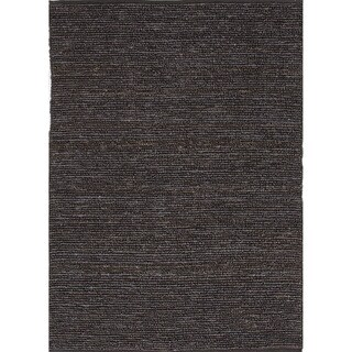 Hand-woven Naturals Solid Pattern Gray/ Black Rug (2' x 3')