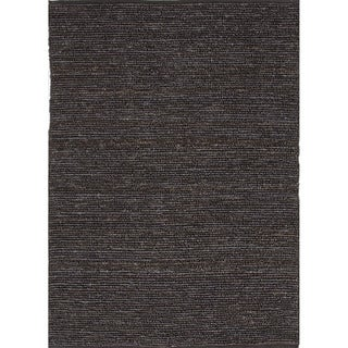 Hand-woven Naturals Solid Pattern Gray/ Black Rug (3'6 x 5'6)
