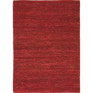 Hand-woven Naturals Solid Pattern Red/ Orange Rug (2' x 3')