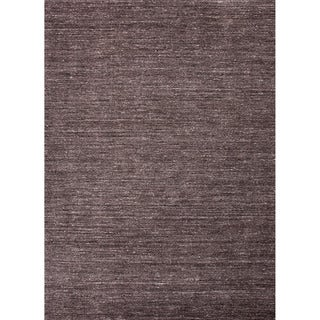 Hand-loomed Solid Pattern Gray/ Black Rug with Plush Pile (8' x 10')