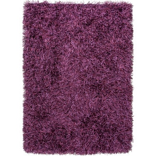 Hand-woven Shags Solid Pattern Pink/ Purple Rug (2' x 3')