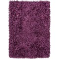 Hand-woven Shags Solid Pattern Pink/ Purple Rug (8' x 10')