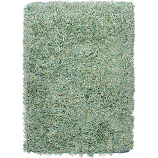 Hand-woven Shags Solid Pattern Green Rug (5' x 8')