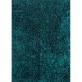 Hand-woven Shags Solid Pattern Blue Rug (2' x 3')