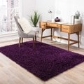 Hand-woven Shags Solid Pattern Purple Rug (2' x 3')
