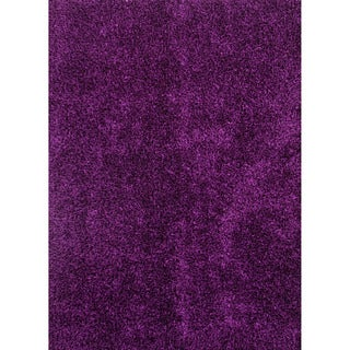 Hand-woven Shags Solid Pattern Pink/ Purple Rug (5' x 7'6)