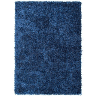 Hand-woven Shags Solid Pattern Blue Rug (7'6 x 9'6)