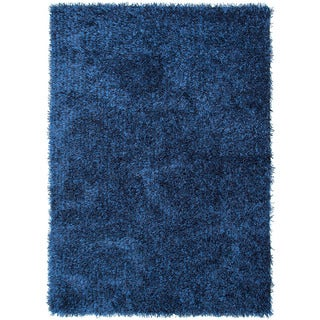 Hand-woven Shags Solid Pattern Blue Rug (5' x 7'6)