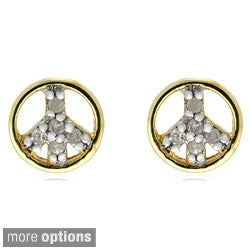 Finesque Silver 1/10ct TDW Diamond Peace Sign Stud Earrings (I-J, I2-I3)