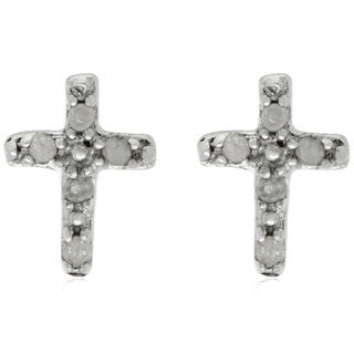 Finesque Sterling Silver Diamond Accent Cross Earrings