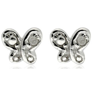 Finesque Sterling Silver Diamond Accent Butterfly Stud Earrings
