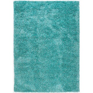 Hand-woven Shags Abstract Pattern Blue Rug (5' x 7'6)
