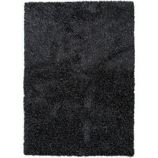 Handwoven Shags Solid-pattern Gray/ Black Accent Rug (2' x 3')