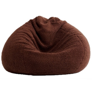 BeanSack Ultra Brown Sherpa Lounge Bean Bag Chair