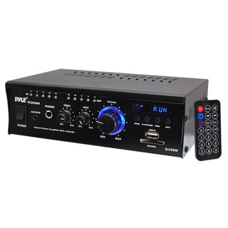 Pyle Mini 2x120 Watt Stereo Power Amplifier with USB/SD Card Readers, AUX, CD Inputs & LED Display