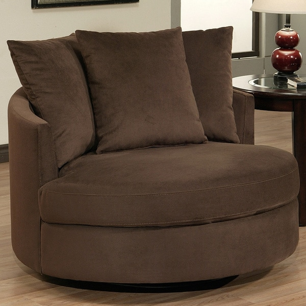 Abbyson living clarence round fabric swivel chair for Abbyson living soho cream fabric chaise