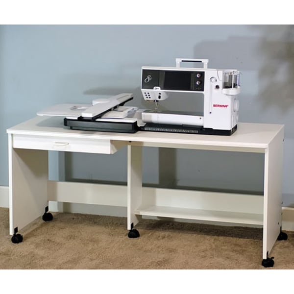 Sewing Rite Sewing Class White Display Training Table with Storage Drawer