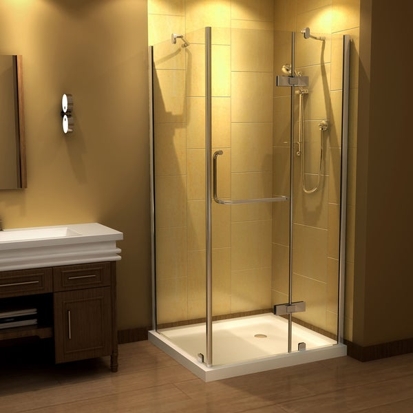 Aston 40 x 32-inch Clear Glass Frameless Shower Enclosure with Acrylic Base