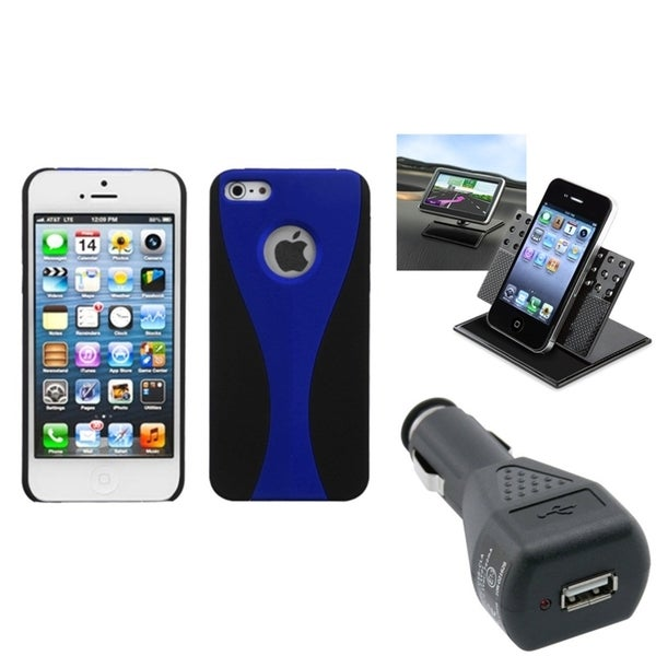 INSTEN Car Charger/ Dashboard Holder/ Blue Phone Case Cover for Apple iPhone 5