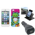 BasAcc Car Charger/ Dashboard Holder/ Frog Case for Apple iPhone 5