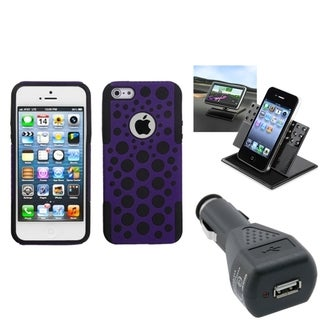 BasAcc Car Charger/ Dashboard Holder/ Dots Case for Apple iPhone 5
