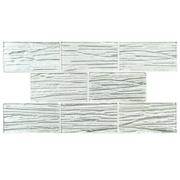 SomerTile Arbor Subway White Glass Mosaic Tile (Case of 80)