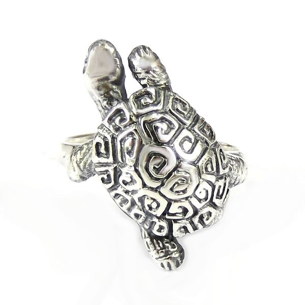 Handmade Exotic and Rare Greek Key Turtle Shell .925 Sterling Silver Ring (Thailand) 11418729