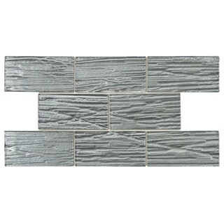 SomerTile 3 x 6-inch Arbor Subway Blue Glass Mosaic Wall Tile (Case of 80)
