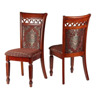 Queen Anne Dining Chair in Chocolate Red fabric / Gold Accents (Set of 2)