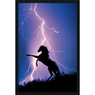 'Lightning And Silhouette Of A Horse' Gel-Coated Framed Art Print