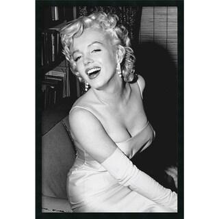 Marilyn Monroe Smiling' Framed Art Print with Gel Coated Finish