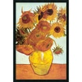 Vincent van Gogh 'Sunflowers on Blue, 1888' Gel-Coated Framed Art Print