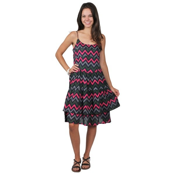 Journee Collection Juniors Sleeveless Chevron Print Dress