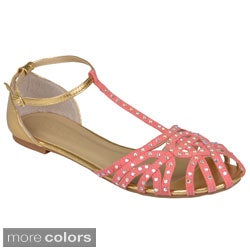 Journee Collection Women's 'Sapphire-74' Bejeweled T-strap Flats